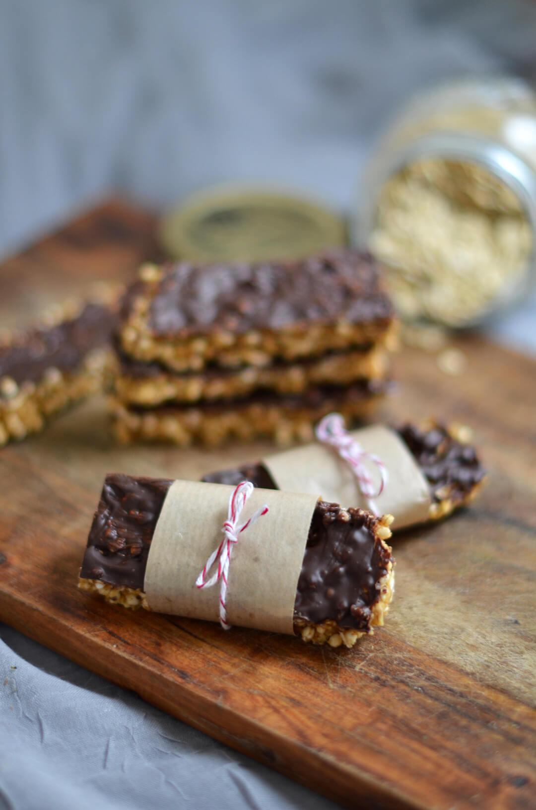 Barres céréales vegan cacahuète chocolat